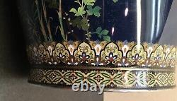 Magnificent Japanese Meiji Silver & Gold Wire Cloisonne Vase Hayashi Kodenji