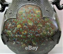 Massive 24 JAPANESE EDO PERIOD Champleve Cloisonne Bronze Vase c. 1800 antique
