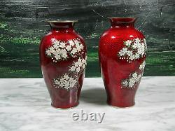 Matching Pair Japanese Yamamoto Pigeon Blood Akasuke Foil Cloisonne Vases Signed
