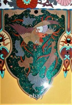 Meiji Cloisonne' Vase, 10, FLAWLESS, Dragons, Phoenix's, Goldstone, Exquisite Detail