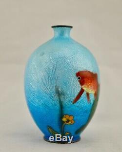 Meiji Japanese Cloisonne Ginbari basse-taille Koi fish vase by Kumeno Teitaro