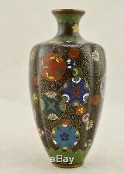 Meiji Japanese Cloisonne enamel Kyoto-Jippo wired lobbed vase