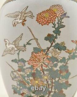 Meiji Japanese Cloisonne enamel twin landscape silver wire moon-flask vase