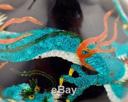Meiji Japanese Cloisonne ginbari enamel coiled dragon vase
