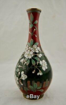 Meiji Japanese cloisonne jippo and ginbari enamelled Sakura Blossom vase