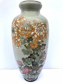 Meiji Period Early 20th Century Japanese Chinese Fine Cloisonne Bronze ATQ Vase