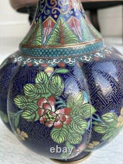 Meiji period Cloisonné Enamel & Brass Floral Vase 9.5 Inches Chinese Japanese