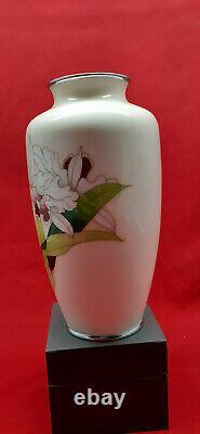 Mitsukoshi Cloisonne Ware 9 Tall Orchid Vase Mid 20th Century