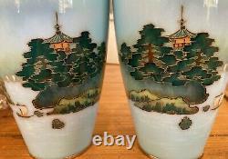Mt Fuji Japanese Cloisonne Enamel Pair of Vases