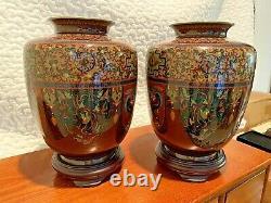 Museum Quality Pair Of Antique Japanese Meiji Cloisonne Vases Circa 1870