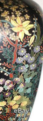 Nice antique Japanese cloisonne Meiji period vase on wood stand