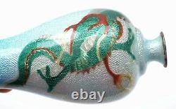 Old Japanese Basse Taille Ginbari Cloisonne Enamel Shippo Vase Dragon Yamaguchi