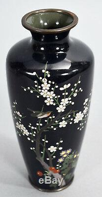 Old Japanese Cloisonne Vase 7-1/8 Cherry Blossom Tree Branch with Bird on Black