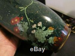 Old Japanese Cloisonne Vase with Bird and Flowers Goldstone