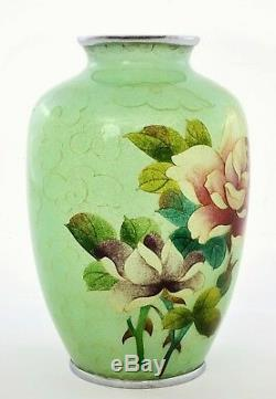 Old Japanese Plique a Jour Cloisonne Enamel Shippo Vase Roses Mint Green Ground