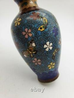 Old Original Japanese Bronze Cloisonné Oriental Vase 4.75'' T