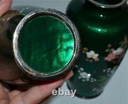 Old Pair Japanese Green Silver Foil Cloisonne Vases Floral Design Birds