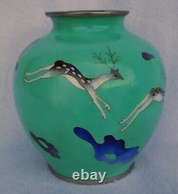 Old Vintage Japan Sato Cloisonne Vase Running Deer
