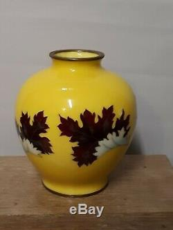 Old or Antique Japanese Yellow Cloisonne Vase