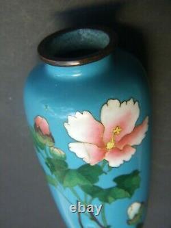 Original Antique Japanese Cloisonne Small Vase Blue Floral Design Vintage