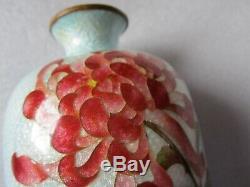 Original Antique Japanese Ginbari Silver Foil Cloisonne Floral Design Vase 9.5