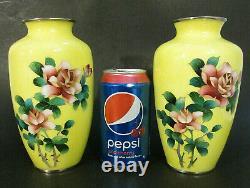 PAIR (2) Japanese Yellow Asian Cloisonne Enamel Floral ROSES 7.25 (18 cm) Vases