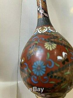 PAIR Antique Japanese Cloisonne Bud Vases. 6 tall, 2 bulbous bottom