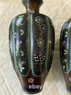 PAIR Antique Japanese Cloisonne Melon Vases 6.5