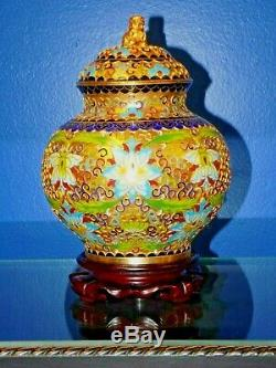 PAIR OF CLOISONNE JARS / VASES 9.5 With STANDS-PORCELAIN ASIAN ORIENTAL JAPANESE