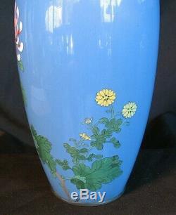 PR. CLOISONNE VASES ROBIN EGG BLUE w FLOWERS SILVER RIMS ANTIQUE