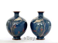 Pair 1900's Japanese Cloisonne Enamel Shippo Vase Crane Egret Bird Willow Tree