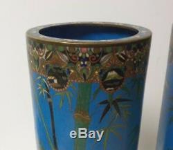 Pair 19th C. Japanese Cloisonne Enamel on Bronze 12 Vases, Cranes