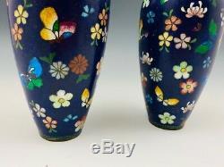 Pair 7.5 in Antique Japanese Cloisonne Vases Foil Butterflies & Flowers