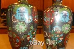 Pair Antique Japanese Meiji Cloisonne Enamel Vases Cherry Blossom Butterflies 9