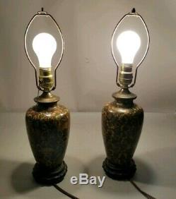 Pair Antique Silver Wire Japanese Cloisonné Table Lamps Vases On Wood Plateau