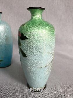 Pair Antique c1900 Japanese Ginbari Cloisonne Foil Enamelled Floral Vases 15 cm