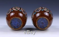 Pair Japanese Antique Cloisonne On Bronze Vases, 19th Century