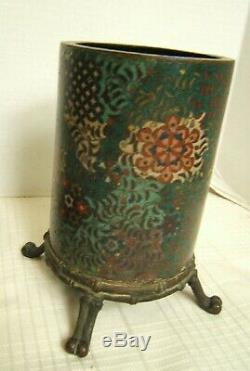 Pair Japanese Cloisonne Cylinder Or Brush Pots On Stands 1840s