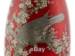 Pair Japanese Cloisonné Hawk Vases Hayakawa Komejiro