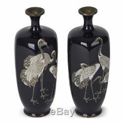 Pair Japanese Meiji Cloisonne Crane Vases 19th C