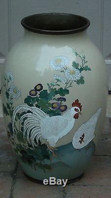Pair Japanese Meiji Large Cloisonne Roosters & Chrysanthemums Opposing Vases