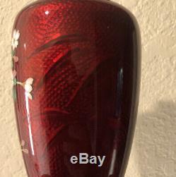 Pair Japanese Red Enamel Vases