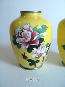 Pair Japanese Sato Cloisonne Miniature 3.75 Vases, Signed On Base