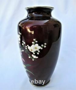 Pair Japanese Wireless Cloisonne Enamel Plum Blossom Flower Ikebana Mantle Vases