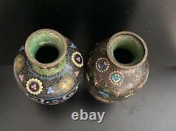 Pair Japanese antique cloisonné enamel vases butterfly Meiji period gold foil 7
