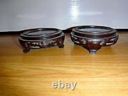 Pair Large Floral Peony Cloisonne Vases On Hardwood Stands 9.75 Excellent