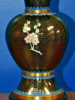 Pair Of 25 Chinese Cloisonne Vase Lamps Black Asian Oriental Japanese Porcelain