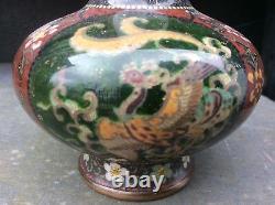 Pair Of Antique Meji Period Japanese Cloisonné Bottle Vases