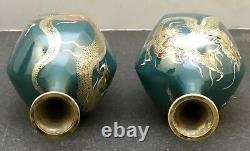 Pair Of Japanese Meiji Golden Age Cloisonne Vases with Silver Wire