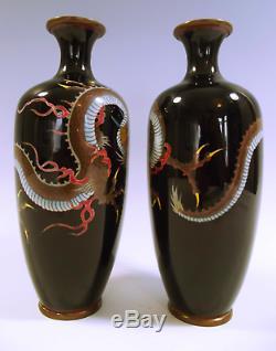 Pair Of Japanese Meiji Period Cloisonne Enamel Dragon Vases